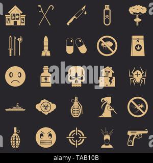 Tension icons set, simple style - Stock Image