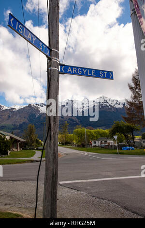 Street signs with Scottish place names in Glenorchy, New Zealand - Stock Image
