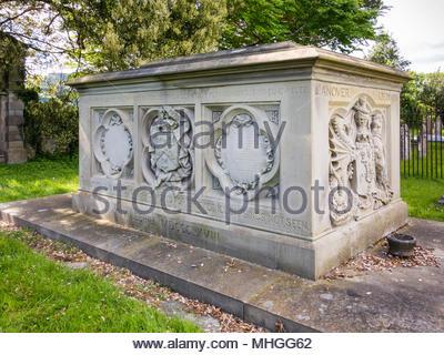 The family tomb of Benjamin Hall, of Llanover and Abercarn, Baron Llanover, at St Bartholomew's Church, Llanover, Monmouthshire, Wales, UK - Stock Image