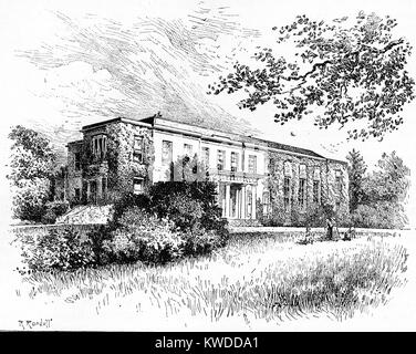 Engraving of Tichborne Park, Alresford, Hampshire, circa 1874 - Stock Image