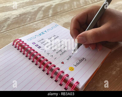 millennial woman writing in a bullet journal - Stock Image