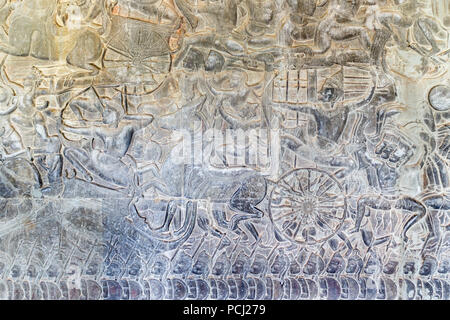 Bas relief picture, Ankor Wat, Cambodia - Stock Image