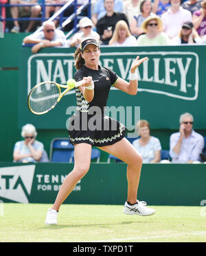 Eastbourne, UK. 25th June, 2019. Johanna Konta of Great Britain in action during her win over Maria Sakkari of Greece during their second round match the Nature Valley International tennis tournament held at Devonshire Park in Eastbourne . Credit: Simon Dack/Alamy Live News - Stock Image
