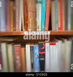 Secondhand books in a bookstore in the market in Cambridge United Kingdom - Stock Image