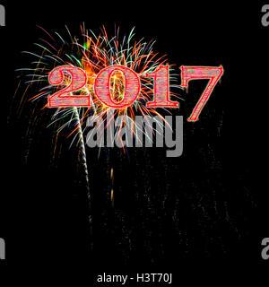 Fireworks illustration celebrating 2017 on black background night sky New Year's Day New Years Eve - Stock Image