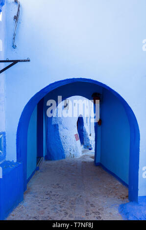 Chefchaouen, Morocco : Blue-washed alleyway in the medina old town. - Stock Image