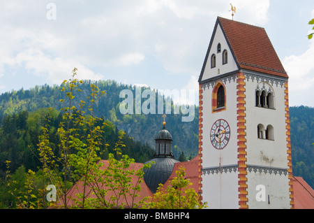 The Monastery of St Mang with clock tower in  Füssen, Bavaria, Germany - Stock Image