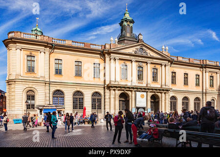 18 September 2018: Tourists outside the Nobel Museum on Stortorget on a bright Autumn weekend. - Stock Image