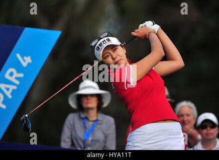 Rancho Mirage, California, USA. 2nd Apr, 2017. Mi Jung Hur on the 16th tee during the final round of the ANA Inspiration - Stock Image