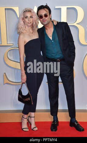 London, UK. 27th September 2018. Portia Freeman and Pete Denton attend A Star Is Born UK Premiere at Vue Cinemas, Leicester Square, London, UK 27 September 2018. Credit: Picture Capital/Alamy Live News - Stock Image