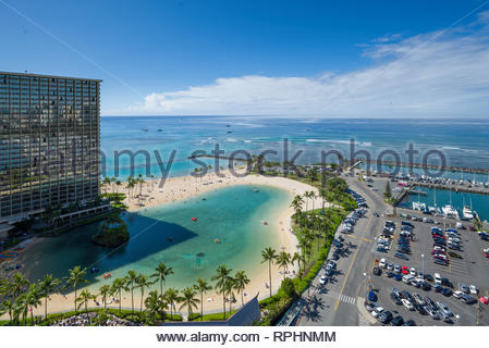 Aerial view of the Duke Kahanamoku Lagoon and the Hilton Hawaiian Village Waikiki Beach Resort, Honolulu, Oahu, Hawaii, USA - Stock Image
