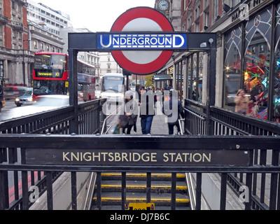 Knightsbridge station London Underground subway England UK - Stock Image