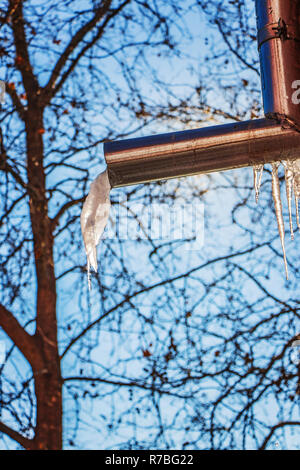 icicles hang dangerously from the roofs of houses and buildings above the heads of passersby - Stock Image