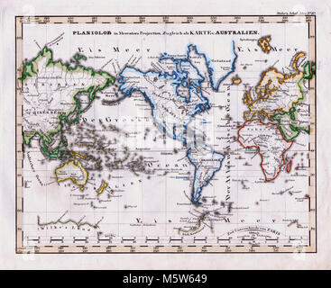 1844 Stieler Map - World on Mercator's Projection - Asia Africa Australia Europe North and South America - Stock Image