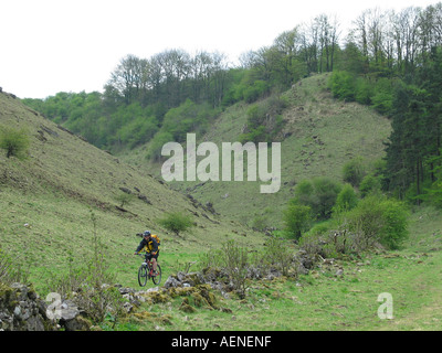 Bike riding the High Peak Trail Peak District Derbyshire Great Britain - Stock Image