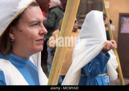 Tenerife, Canary Islands, the Palm Sunday Holy Week procession through the streets of La Laguna. - Stock Image