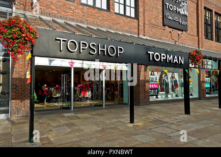 Topshop and Topman clothing and accessories shop store Coppergate Shopping Centre York North Yorkshire England UK United Kingdom GB Great Britain - Stock Image