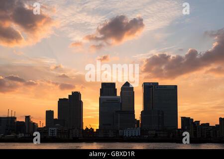 Canary Wharf skyline at sunset, London, England - Stock Image