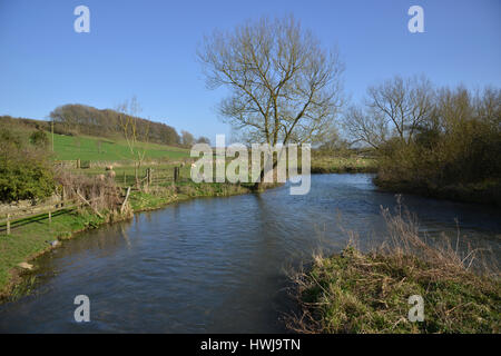 River Windrush flowing through the Cotswold village of Swinbrook near Burford, Oxfordshire - Stock Image