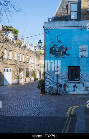 Wall mural at the entrance to Reece Mews and Kendrick Mews in South Kensington, London, England, UK - Stock Image