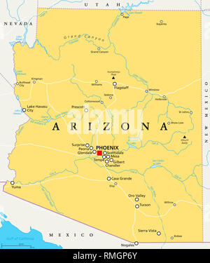 Arizona political map with capital Phoenix, important cities, rivers, lakes. State in southwestern region of United States. Illustration. - Stock Image