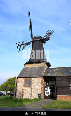 Brighton UK 2nd May 2019 - West Blatchington Windmill being used as the polling station for the Hove Constituency of Hangleton & Knoll Ward in Brighton and Hove today . Credit: Simon Dack / Alamy Live News - Stock Image