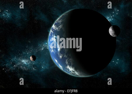 A large water covered planet with two moons alone in deep space. The galactic core serves as background while a - Stock Image
