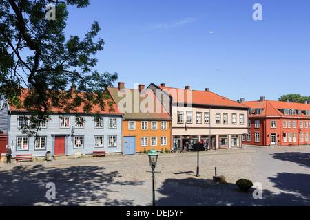 Traditional historic wooden buildings on Voldgarten in old town of Gamlebyen, Fredrikstad, Ostfold, Norway, Scandinavia - Stock Image