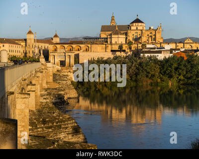 Great Mosque of Cordoba and the Roman bridge over the Guadalquivir River; Cordoba, Province of Cordoba, Spain - Stock Image
