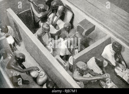 Miniature bakery and brewery, with workers, discovered in a pyramid during excavations, Egypt. Their purpose was to minister to the needs of the buried dignitary. - Stock Image
