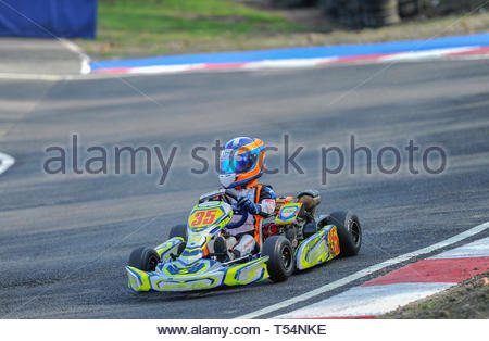 Larkhall, UK. 21st April, 2019. 35 Zac Drummond in a Honda Cadet class Heat  during Round 2 of the 2019 WSKC Club Championship at Summerlee Raceway. Credit: Roger Gaisford/Alamy Live News - Stock Image