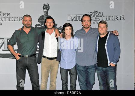 (L-R)Cast members Ray Stevenson, Luke Evans, Logan Lerman, Matthew MacFadyen and James Corden arrive for a - Stock Image