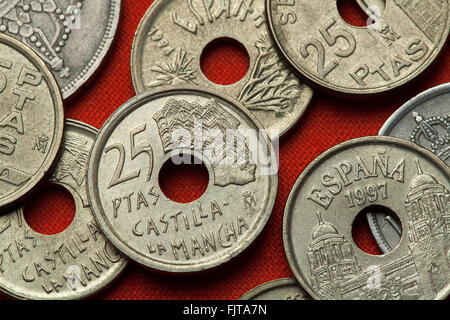Coins of Spain. Casas Colgadas in Cuenca, Castilla-La Mancha, Spain depicted in the Spanish 25 peseta coin (1996). - Stock Image