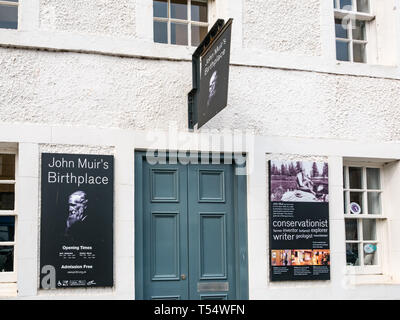 Dunbar, East Lothian, Scotland, UK. 21st Apr 2019. John Muir's 181st birthday in his birthplace. The John Muir birthplace museum in the centre of the town - Stock Image