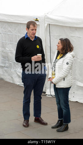 London, UK. 23rd Mar, 2019. Alastair Campbell Tony Blair's former director of Communications with Ayesha Hazareka Ed Millibands former poliical adviser attending People's Vote March and ally, 'Put it to the People.' Credit: Prixpics/Alamy Live News - Stock Image