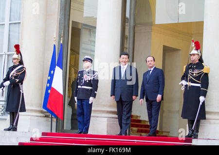 Xi Jinping Chinese President with François Hollande at the Elysée Palace Paris France - Stock Image