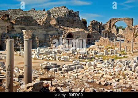 Ruined Agora At Side Turkey - Stock Image