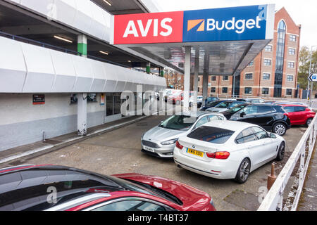 Cars for hire at Avis and Budget car rental in Luton, UK - Stock Image