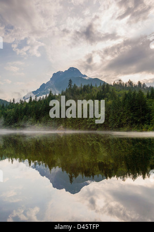 Mount Stoneman reflected in Silver Lake, Silver Lake Provincial Park, British Columbia, Canada - Stock Image