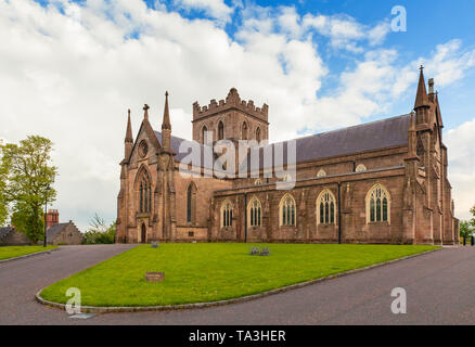 The north side of St Patrick's Cathedral in the city of Armagh, County Armagh, Ulster, Northern Ireland is the seat of the Archbishop of Armagh in the - Stock Image