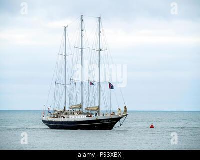 The Netherlandsn  three masted schooner EENDRACHT arriving in Roker Harbour Sunderland for the Tall Ships Race 2018 - Stock Image