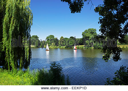 Some sail while others hike and cycle around on the Münstersche Aasee in Münster, Nordrhein-Westfalen, - Stock Image