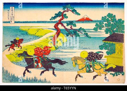 Katsushika Hokusai, Sekiya Village on the Sumida River (Sumidagawa Sekiya no sato), print, c. 1830 - Stock Image