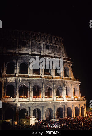Colosseum in Rome Italy flood-lit at night - Stock Image