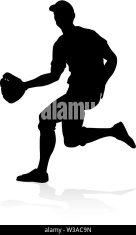 Baseball Player Silhouette - Stock Image