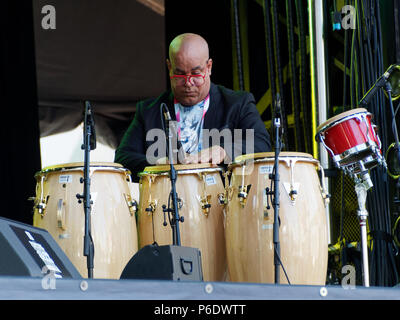 Montreal, Canada. 6/29/2018. Haracio 'El Negro' Hernandez  performs at the Montreal International Jazz Festival. Credit: richard prudhomme/Alamy Live News - Stock Image
