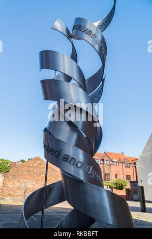 'Spinners' stainless steel sculpture by Chris Wormald, 2010, Beverley Town Trail,  Swaby's Yard, Beverley, East Riding, Yorkshire, England - Stock Image