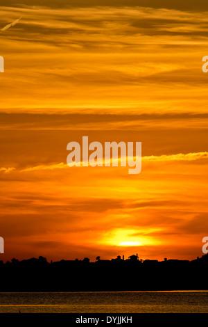 Sunset over Galveston bayou, Texas - Stock Image