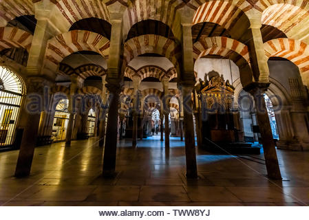 Archway inside the Mezquita (the Mosque-Cathedral) of Corboba, Cordoba Province,  Spain. - Stock Image
