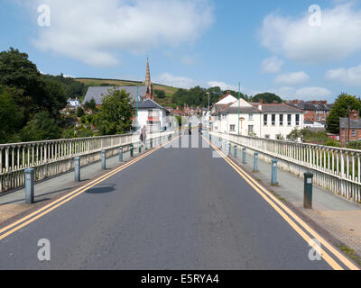 Long bridge street over the river Severn in Newtown, Powys Wales UK. - Stock Image